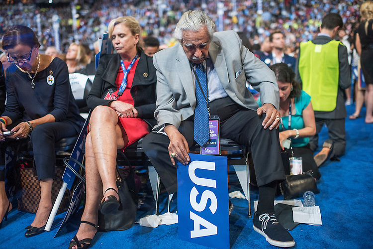 UNITED STATES - JULY 28: From left, Reps. Nydia Velazquez, D-N.Y., Carolyn Maloney, D-N.Y., and Charlie Rangel, D-N.Y., appear on the floor of the Wells Fargo Center in Philadelphia, Pa., on the final night of the Democratic National Convention, July 28, 2016, at which Democratic presidential nominee Hillary Clinton addressed the crowd. (Photo By Tom Williams/CQ Roll Call)
