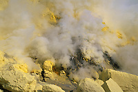Digging for sulphur in the crater of Kawah Ijen, Java, Indonesia, 2002