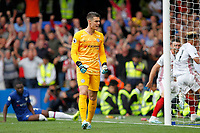 GOAL - Kepa Arrizabalaga of Chelsea shows frustration at being beaten during the Premier League match between Chelsea and Sheff United at Stamford Bridge, London, England on 31 August 2019. Photo by Carlton Myrie / PRiME Media Images.