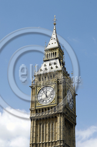 London - Great Britain / United Kingdom - 28 June 2008---Big Ben showing five to twelve, Clock Tower at the Palace of Westminster / Houses of Parliament---culture, architecture, landmark, tourism, symbol---Photo: Horst Wagner / eup-images