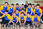 Castleisland Community College team celebrate with their coach Maurice Casey after inning the All Ireland U19 Secondary School in Tallaght on Tuesday front row l-rL Sean O'Connell,Ryan McGuire, Jonathan Hill, Padraig O'Connell, John Bobby Bobiles, back row: Jack Curran, Shane O'Connell, Adam Nolan, Eodhan Browne, Sean O'Connell, Nathan Nolan, Maurice Casey, Patrick Horan, Seamus Barry, Alex Fleming