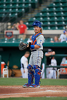 St. Lucie Mets catcher Nick Meyer (26) during a Florida State League game against the Lakeland Flying Tigers on April 24, 2019 at Publix Field at Joker Marchant Stadium in Lakeland, Florida.  Lakeland defeated St. Lucie 10-4.  (Mike Janes/Four Seam Images)