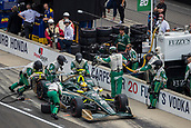 May 28th Indianapolis Speedway, Indiana, USA;  Ed Carpenter, driver of the #20 Ed Carpenter Racing Chevrolet, makes a pit stop during the running of the 101st Indianapolis 500 on May 28th, 2017 at the Indianapolis Motor Speedway in Indianapolis, IN.