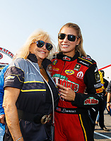 Sep 4, 2017; Clermont, IN, USA; NHRA top fuel driver Leah Pritchett (right) and Linda Vaughn during the US Nationals at Lucas Oil Raceway. Mandatory Credit: Mark J. Rebilas-USA TODAY Sports