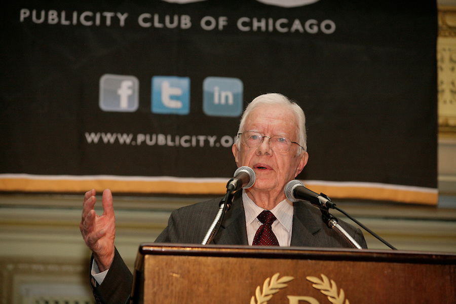 Jimmy Carter delivers the keynote speech at the Publicity Club of Chicago's Golden Trumpet Awards. PCC recognized the region's best strategic communications work done in 2013 at the Golden Trumpet Awards dinner at the Palmer House in downtown Chicago on Wednesday, June 4, 2014   [Photo by Karen Kring] Jimmy Carter met fellow citizens and delivered the keynote speech at the Publicity Club of Chicago's Golden Trumpet Awards. PCC recognized the regions best strategic communications work done in 2013 at the Golden Trumpet Awards dinner at the Palmer House in downtown Chicago on Wednesday, June 4, 2014   [Photo by Karen Kring]