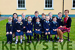 Alison Coffey with her junior infants in Lough Quittane NS on their first day of school on Thursday front row l-r: Eanna Mulligan, Amelia Walsh, Aoife Coffey, emma Moynihan, Regan O'Shea, Lily Duffin. Back row: Ava Brosnan, Caitlin Carey, Myles O'Donoghue, Donnchadh Slattery, Jessie Keane and Gary O'Connor
