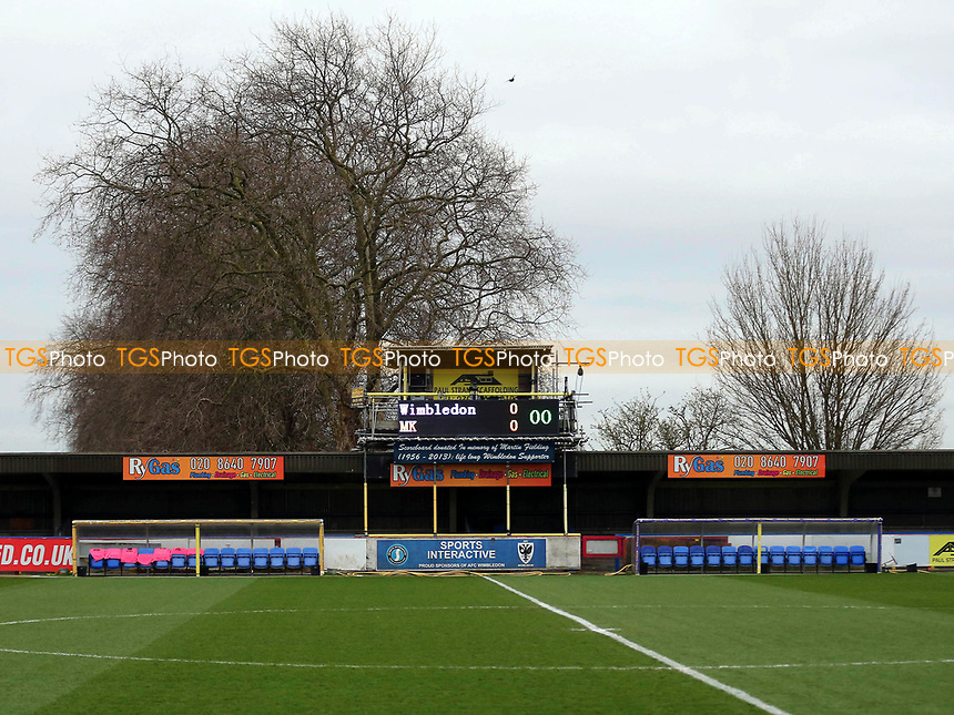 Mk Dons referred to as MK on the scoreboard during AFC Wimbledon vs MK Dons, Sky Bet EFL League 1 Football at the Cherry Red Records Stadium on 14th March 2017