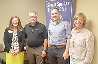 Photo submitted<br /> Simmons Foods employees, from left, Kelly Unger, Kiwanis Club member and Simmons government and trade affairs manager; Drew McGee, processed food president; Donny Epp, director of communication and Julie Maus, public relations manager, were the guests of the Siloam Springs Kiwanis Club on July 24. McGee presented an overview of the new processing plant that is being constructed between Decatur and Gentry. Mark Brooker, director of The Manna Center, will present the club's program at the next Kiwanis Club of Siloam Springs meeting on July 31. The Kiwanis Club meets from noon to 1 p.m. each Wednesday in the Dye Conference Room on the campus of John Brown University.