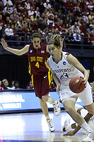 BERKELEY, CA - MARCH 30: Jeanette Pohlen drives down the lane during Stanford's 74-53 win against the Iowa State Cyclones on March 30, 2009 at Haas Pavilion in Berkeley, California.