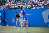 June 18th 2017, Nottingham, England; WTA Aegon Nottingham Open Tennis Tournament day 7 finals day;  Anguish from Donna Vekic of Croatia as she misses a shot versus Johanna Konta of Great Britain