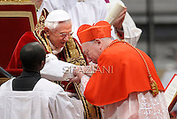 Italian cardinal Francesco Coccopalmerio, Pope Benedict XVI leads the Consistory where he will appoint 22 new cardinals on February 18, 2012 at St Peter's basilica at the Vatican.