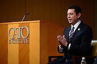"""Washington, DC - February 15, 2017:  U.S. Rep. Jason Chaffetz, Chairman of the House Committee on Oversight and Government Reform, discusses congressional findings on the use of """"Stingrays and """"Cell-site-simulators"""" during a form at the CATO Institute in the District of Columbia February 15, 2017.  (Photo by Don Baxter/Media Images International)"""