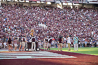 Game Day: MSU Football versus South Carolina.<br /> Bully gets pulled in a doghouse<br />  (photo by Robert Lewis / &copy; Mississippi State University)