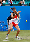 June 12th 2017,  Nottingham, England; WTA Aegon Nottingham Open Tennis Tournament day 3; 7th seed Mona Barthel of Germany; Fett hits a forehand back to Qualifier Jana Fett of Croatia who won 6-3 5-7 7-5 Fett saved 3 match points before winning