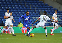 Cardiff City's Junior Hoilett under pressure from Bolton Wanderers' Sammy Ameobi<br /> <br /> Photographer Kevin Barnes/CameraSport<br /> <br /> The EFL Sky Bet Championship - Cardiff City v Bolton Wanderers - Tuesday 13th February 2018 - Cardiff City Stadium - Cardiff<br /> <br /> World Copyright &copy; 2018 CameraSport. All rights reserved. 43 Linden Ave. Countesthorpe. Leicester. England. LE8 5PG - Tel: +44 (0) 116 277 4147 - admin@camerasport.com - www.camerasport.com