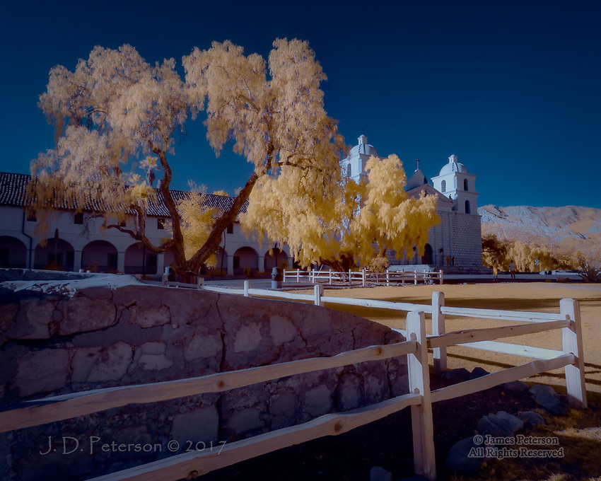 Mission Santa Barbara, California (Infrared) ©2017 James D Peterson.  This is one of the best-preserved of the many historic Spanish missions in California.