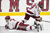 Clay Anderson (Harvard - 5), Luke Esposito (Harvard - 9) - The Harvard University Crimson defeated the Yale University Bulldogs 6-4 in the opening game of their ECAC quarterfinal series on Friday, March 10, 2017, at Bright-Landry Hockey Center in Boston, Massachusetts.