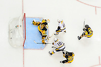 May 29, 2017: Nashville Predators center Colton Sissons (10) scores on Pittsburgh Penguins goalie Matt Murray (30) during game one of the National Hockey League Stanley Cup Finals between the Nashville Predators  and the Pittsburgh Penguins, held at PPG Paints Arena, in Pittsburgh, PA. Pittsburgh defeats Nashville 5-3 in regulation time.  Eric Canha/CSM