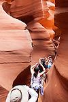 Visitors to <br /> Lower Antelope Canyon, a slot canyon in Page, Arizona, AZ, USA