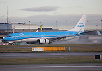 A KLM Royal Dutch Airlines Boeing 737-8K2 Registration PH-BXE named Havik / Hawk at Manchester Airport on 11.2.19 arriving from Amsterdam Schipol Airport, Netherlands.