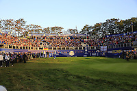 Packed stands surround the 1st tee to during Saturday Mornings Fourball Matches of the Ryder Cup 2014 played on the PGA Centenary Course at the Gleneagles Hotel, Auchterarder, Scotland.: Picture Eoin Clarke/www.golffile.ie 27th September 2014
