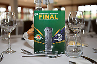 General view of the match day programme ahead of the British & Irish Cup Final match between Ealing Trailfinders and Leinster Rugby at Castle Bar, West Ealing, England  on 12 May 2018. Photo by David Horn / PRiME Media Images.