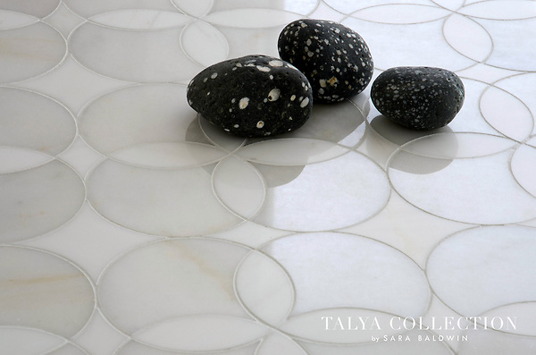 Constantine, a stone waterjet mosaic shown in Snow White polished and Afyon White polished, is part of the Talya Collection by Sara Baldwin for Marble Systems.