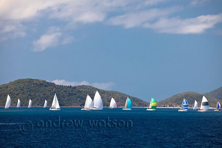Yacht racing in the Whitsunday Passage during Hamilton Island Race Week.  Whitsundays, Queensland, Australia