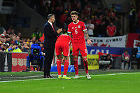 Ryan Giggs Manager of Wales speaks with Joe Rodon of Wales during the UEFA Euro 2020 Qualifier match between Wales and Azerbaijan at the Cardiff City Stadium in Cardiff, Wales, UK. Friday 06, September 2019