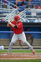 Williamsport Crosscutters catcher Austin Bossart (47) at bat during a game against the Batavia Muckdogs on August 29, 2015 at Dwyer Stadium in Batavia, New York.  Williamsport defeated Batavia 7-3.  (Mike Janes/Four Seam Images)