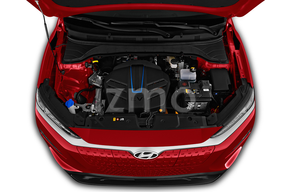 Car Stock 2019 Hyundai Kona-EV Ultimate 5 Door SUV Engine  high angle detail view