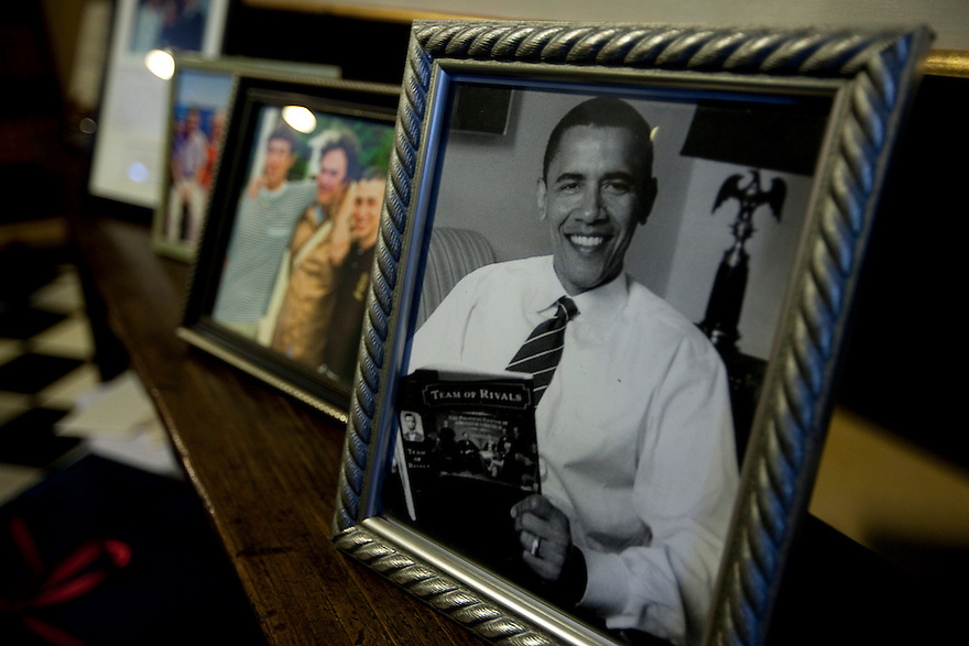 CONCORD, MA.-- October 15, 2011-- The groom's parents displayed some photos at the entranceway to their home, including one of the president holding Doris Kearns Goodwin's book, Team of Rivals. Victoria Bonney and Joseph Goodwin wed in Concord, Massachusetts. CREDIT: JODI HILTON FOR THE NEW YORK TIMES
