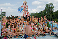 Participants pose for a photograph during the Miss Bikini Hungary beauty contest held in Budapest, Hungary on August 06, 2011. ATTILA VOLGYI