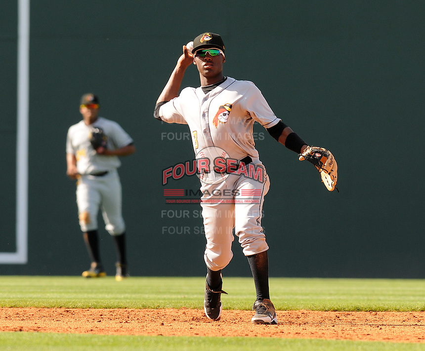 Infielder Alen Hanson (3) of the West Virginia Power, a Pittsburgh Pirates affiliate, in a game against the Greenville Drive on May 20, 2012, at Fluor Field at the West End in Greenville, South Carolina. Greenville won 6-5. (Tom Priddy/Four Seam Images)