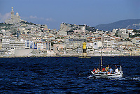 Marseille cityscape on the Mediterranean Sea, France.