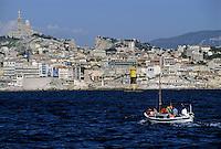 Marseille cityscape on the Mediterranean Sea, France.
