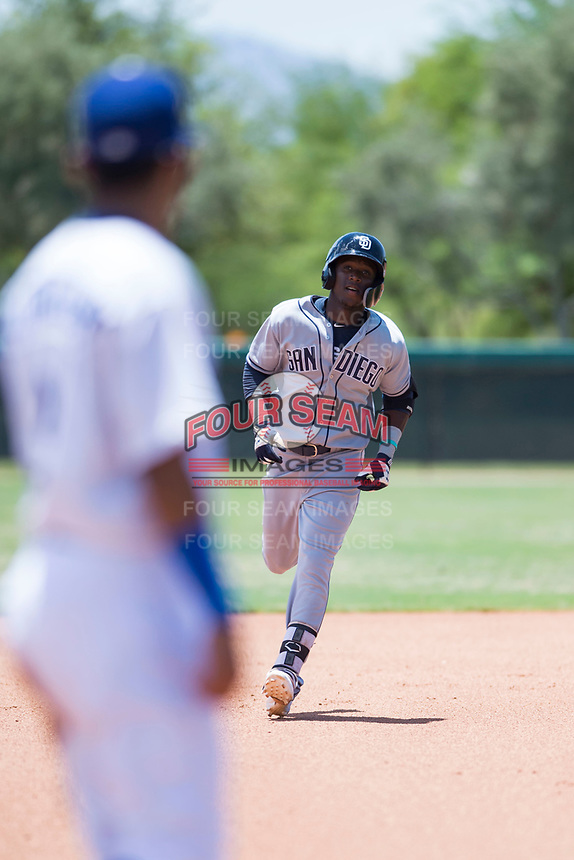 AZL Padres 2 shortstop Jordy Barley (55) rounds the bases after hitting a home run during an Arizona League game against the AZL Dodgers at Camelback Ranch on July 4, 2018 in Glendale, Arizona. The AZL Dodgers defeated the AZL Padres 2 9-8. (Zachary Lucy/Four Seam Images)