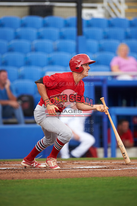 Palm Beach Cardinals second baseman Danny Diekroeger (3) at bat during a game against the Dunedin Blue Jays on April 15, 2016 at Florida Auto Exchange Stadium in Dunedin, Florida.  Dunedin defeated Palm Beach 8-7.  (Mike Janes/Four Seam Images)
