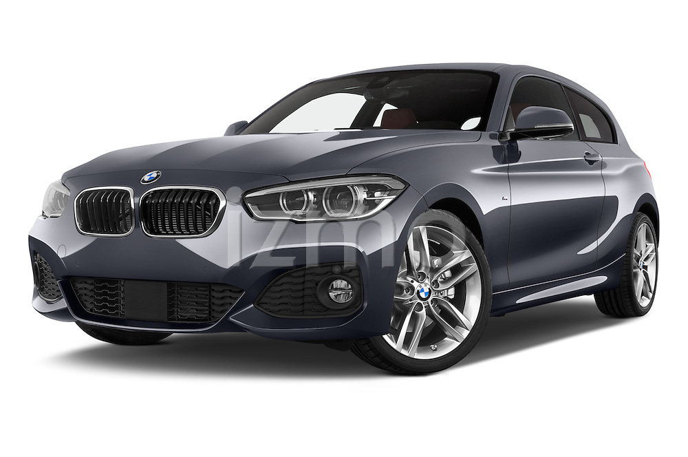 Stock pictures of low aggressive front three quarter view of a 2015 BMW 1 Series M Sport 3 Door Hatchback Low Aggressive