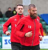 Lincoln City's Michael Bostwick in front of Jason Shackell during the pre-match warm-up<br /> <br /> Photographer Andrew Vaughan/CameraSport<br /> <br /> The EFL Sky Bet League Two - Lincoln City v Crewe Alexandra - Saturday 6th October 2018 - Sincil Bank - Lincoln<br /> <br /> World Copyright &copy; 2018 CameraSport. All rights reserved. 43 Linden Ave. Countesthorpe. Leicester. England. LE8 5PG - Tel: +44 (0) 116 277 4147 - admin@camerasport.com - www.camerasport.com