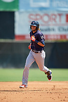 Binghamton Rumble Ponies Gavin Cecchini (10) rounds the bases after hitting a home runduring an Eastern League game against the Bowie Baysox on August 21, 2019 at Prince George's Stadium in Bowie, Maryland.  Bowie defeated Binghamton 7-6 in ten innings.  (Mike Janes/Four Seam Images)