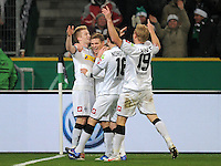 Fussball DFB Pokal:  Saison   2011/2012  Achtelfinale  21.12.2011 Borussia Moenchengladbach - FC Schalke 04 JUBEL Marco Reus, Tony Jantschke, Juan Arango, Mike Hanke (v. li., Borussia Moenchengladbach)