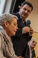 """Bundesarbeitsminister Hubertus Heil (SPD) und die Bochumer Reinigungskraft Susanne Holtkotte besuchten am Mittwoch den 20. November 2019 das Mehrgenerationenhaus """"Kreativhaus e.V."""" in Berlin-Mitte.<br /> Sie wollten mit den Rentnerinnen und Rentnern ueber das Thema Grundrente sprechen.<br /> Heil und Holtkotte hatten im Mai fuer einen Tag die Jobs getauscht, um einen Einblick in das Arbeitsleben des jeweils Anderen zu bekommen.<br /> Im Bild vlnr.: Susanne Holtkotte; Hubertus Heil; Ulrich Krueger, """"Kreativhaus e.V."""".<br /> 20.11.2019, Berlin<br /> Copyright: Christian-Ditsch.de<br /> [Inhaltsveraendernde Manipulation des Fotos nur nach ausdruecklicher Genehmigung des Fotografen. Vereinbarungen ueber Abtretung von Persoenlichkeitsrechten/Model Release der abgebildeten Person/Personen liegen nicht vor. NO MODEL RELEASE! Nur fuer Redaktionelle Zwecke. Don't publish without copyright Christian-Ditsch.de, Veroeffentlichung nur mit Fotografennennung, sowie gegen Honorar, MwSt. und Beleg. Konto: I N G - D i B a, IBAN DE58500105175400192269, BIC INGDDEFFXXX, Kontakt: post@christian-ditsch.de<br /> Bei der Bearbeitung der Dateiinformationen darf die Urheberkennzeichnung in den EXIF- und  IPTC-Daten nicht entfernt werden, diese sind in digitalen Medien nach §95c UrhG rechtlich geschuetzt. Der Urhebervermerk wird gemaess §13 UrhG verlangt.]"""