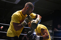 Kell Brook (L) and Kid Galahad during a Media Workout at 12x3 Gym on 8th January 2020