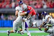 Indianapolis, IN - DEC 1, 2018: Ohio State Buckeyes quarterback Dwayne Haskins (7) runs the football during first half action of the Big Ten Championship game between Northwestern and Ohio State at Lucas Oil Stadium in Indianapolis, IN. (Photo by Phillip Peters/Media Images International)