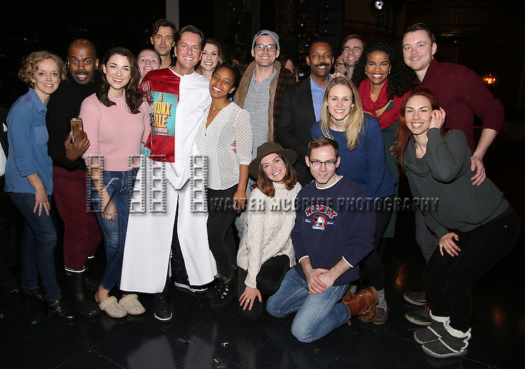 Matt Wall with the cast attend the Actors' Equity Opening Night Gypsy Robe Ceremony for 'Sunset Boulevard'  honoring Matt Wall at the Palace Theatre Theatre on February 9, 2017 in New York City.
