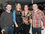 Paul Byrne, Samantha Bowhan, Jo James and Cormac Bowhan pictured at Graham O'Rourke's 40th birthday in the d hotel. Photo:Colin Bell/pressphotos.ie