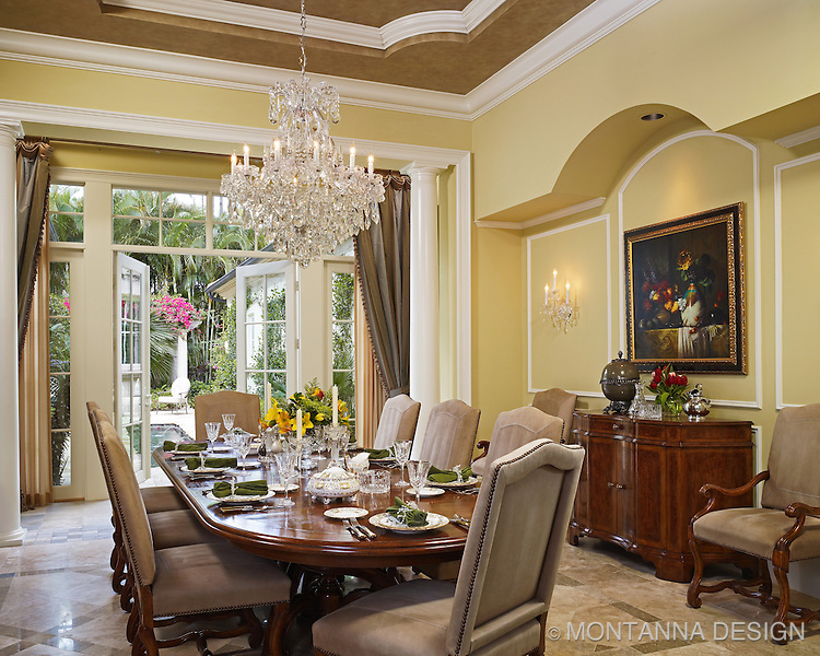 luxurious dining room with waterford crystal chandelier and wall sconces - Dining Room Crystal Lighting