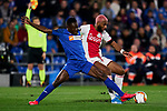 Dakonam Djene of Getafe FC and Ryan Babel of AFC Ajax during UEFA Europa League match between Getafe CF and AFC Ajax at Coliseum Alfonso Perez in Getafe, Spain. February 20, 2020. (ALTERPHOTOS/A. Perez Meca)