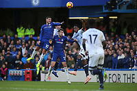 Eden Hazard of Chelsea jumps the highest and heads the ball towards the Everton goal during Chelsea vs Everton, Premier League Football at Stamford Bridge on 11th November 2018